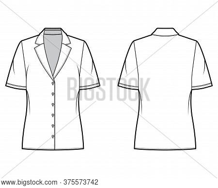 Pajama Style Blouse Technical Fashion Illustration With Retro Camp Collar, Short Sleeves, Loose Fit