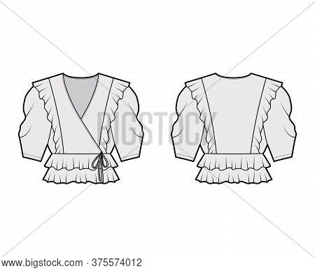 Ruffled Wrap Blouse Technical Fashion Illustration With Peplum Hem, Elbow Volume Sleeves. Flat Appar