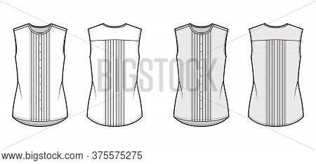 Pintucked Blouse Technical Fashion Illustration With Crew Neck, Sleeveless, Oversized Body, Front Bu
