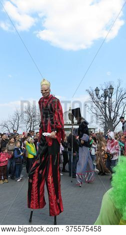 Odessa, Ukraine - 04 01 2019: High Scary And Funny Clowns Take Part In A Costume Parade On The Occas