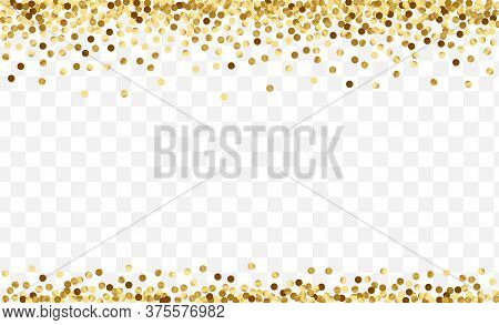 Gradient Glow Confetti Card. Round Polka Template. Yellow Glitter Party Background. Effect Dot Patte