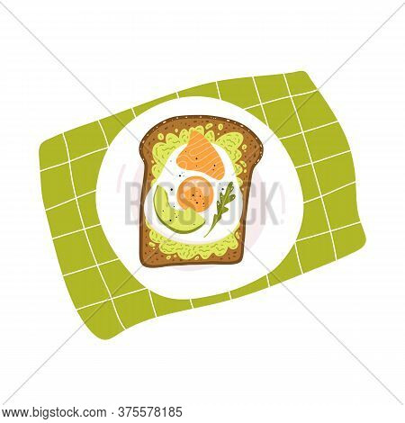 Vector Illustration Of Avocado Toast With Fried Egg, Salmon And Sesame Seeds. Vegan Sandwich. Popula