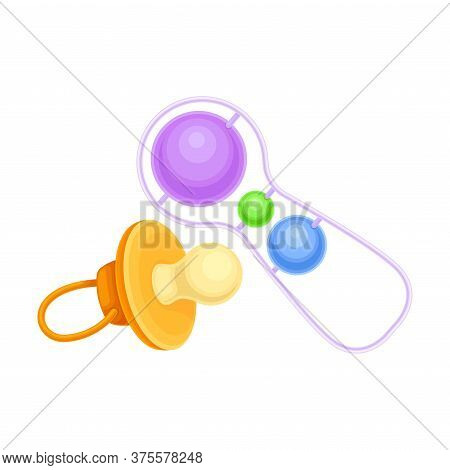 Noisy Baby Rattle And Baby Teat As Pacifying Object Vector Illustration