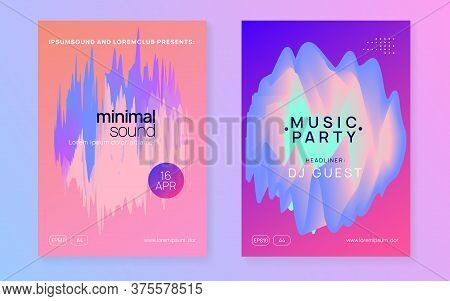 Music Fest Set. Abstract House Event Cover Layout. Electronic Sound. Night Dance Lifestyle Holiday.