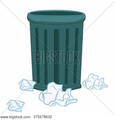 Trash Can And Paper Isolated Illustration On White Background