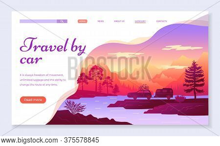 Web Site For Travelers Concept. Travel By Car Banner, Website, Poster Template, Colorful Web Page De