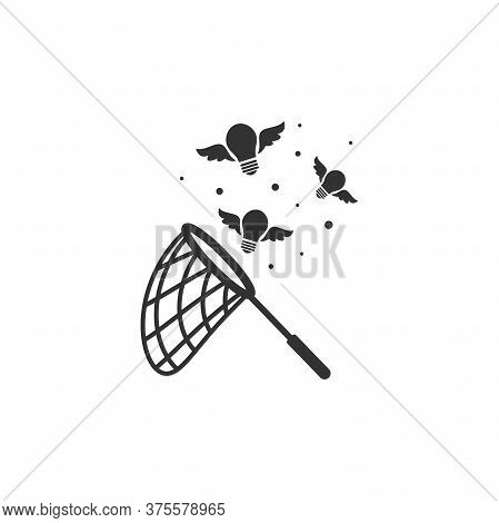 Butterfly Net With Flying Bulbs. Catch, Hunt, Chase Ideas And Solutions Symbol.