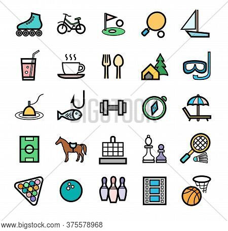 Active Recreation And Leisure, Badges, Set, Color. Color Images With A Black Outline. Sports And Int