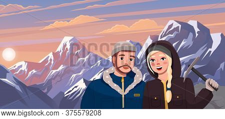 Hiking Sport, Climbing Couple Illustration. Man And Women Hiker In The Cold Season In Warm Clothes I