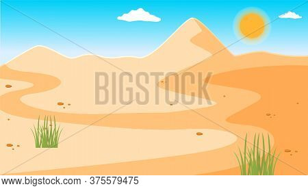 Illustration Of A Desert With A Clear Blue Sky, Small Rare Green Plants. Desert Mountains Sandstone