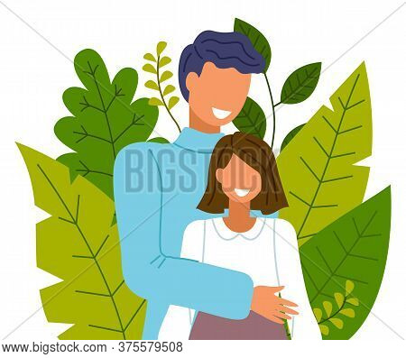 Happy Couple Smiling And Laughing, Embracing And Touching Tenderly On The Background Of Greenery And
