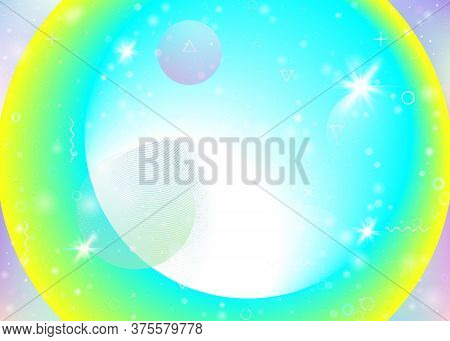 Vibrant Gradients On Rainbow Background. Holographic Dynamic Fluid. Cosmos Hologram. Graphic Layout