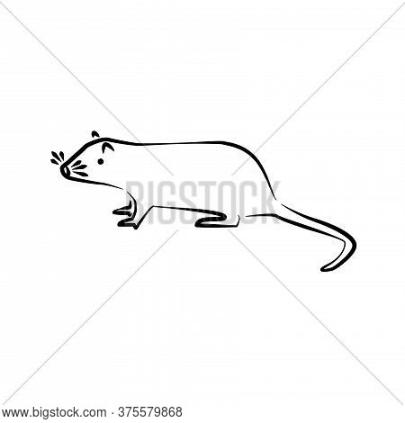 Rat Outline Simple Isolated Icon. Big Rat Sign Or Symbol.