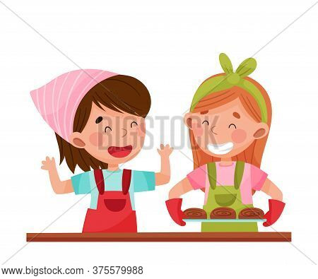 Cheerful Girl Chef Characters Wearing Apron Carrying Baked Buns Vector Illustration