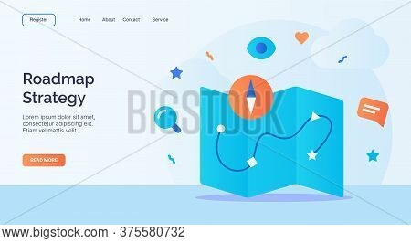 Roadmap Strategy Maps Compass Icon Campaign For Web Website Home Page Landing Template With Cartoon