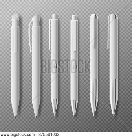 Template Of Pens In Different Angles Realistic Vector Illustration Isolated.