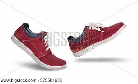Stylish Casual Red Suede Shoes Walking Forward, Isolated On White Background, Lifestyle Concept
