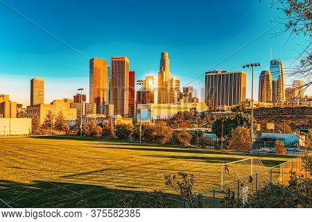 View Of The Downtown Of La In The Evening, Before Sunset Time.