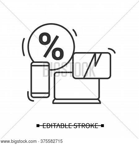 Electronics Sale Icon. Smartphone, Laptop And Discount Percent Linear Pictogram. Concept Of Seasonal