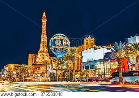 Main Street Of Las Vegas-is The Strip In Evening Time. Casino, Hotel And Resort- Paris.