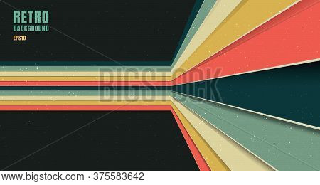 Banner Web Template Design Abstract Background Pattern Stripe Perspective Vintage Retro Color Style