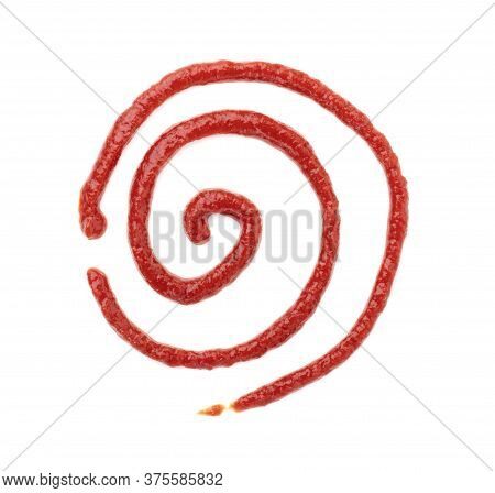 Tomato Sauce Or Ketchup Isolated On A White Background. A Spiral Pattern Drawn From Ketchup