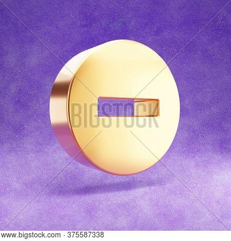 Minus Icon. Gold Glossy Minus Symbol Isolated On Violet Velvet Background. Modern Icon For Website,