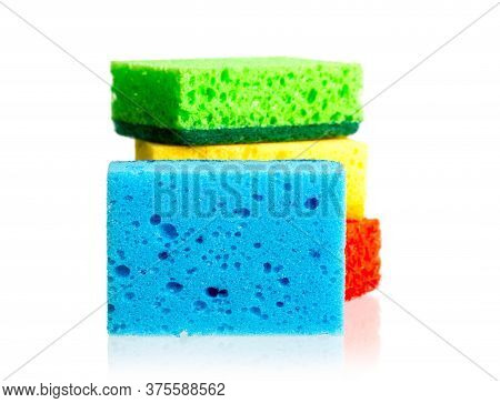 Several New Multi-colored Kitchen Washcloths Isolated On A White Background