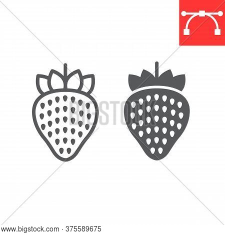 Strawberry Line And Glyph Icon, Food And Keto Diet, Berry Sign Vector Graphics, Editable Stroke Line