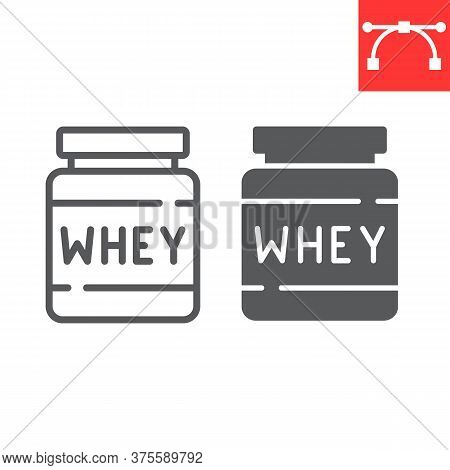 Whey Protein Line And Glyph Icon, Fitness And Diet, Supplements Sign Vector Graphics, Editable Strok