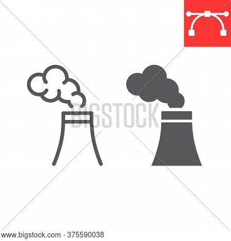Air Pollution Line And Glyph Icon, Factory Pollution And Ecology, Nuclear Power Sign Vector Graphics