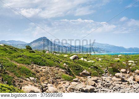 Mediterranean Landscape with Sea and Coast of Italian Island Sardinia. Panoramic Landscape. Summer Concept. Costa Rei Beaches. Italy.