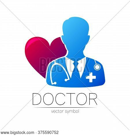 Doctor Vector Logotype In Blue And Violet Color. Silhouette Medical Surgeon Cardiologist Man. Logo F