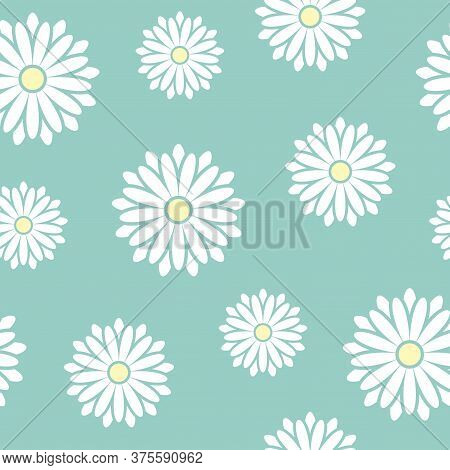 Seamless Pattern With Camomile Or Daisy White Flowers. Flat Blossoms On Pastel Powder Blue Backgroun