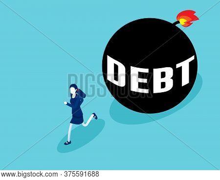Businesswoman Run Away From Debt. Business Debt Ball