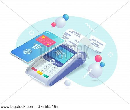 Contactless Payment Via Smartphone Isometric Abstract Concept. 3d Payment Machine, Mobile Phone With