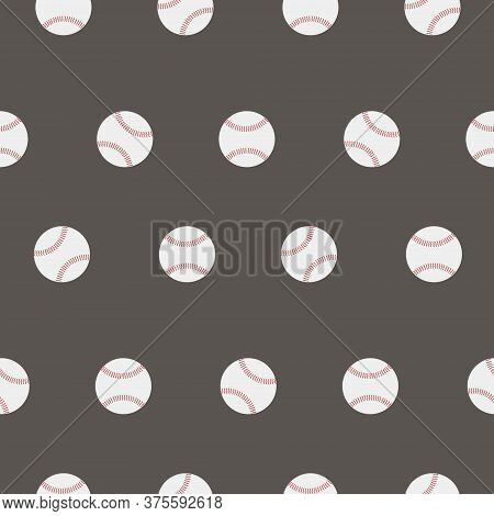 Seamless Pattern. Sport. Baseball Flat Image. Baseball Icon Vector Flat Illustration. Baseball Club