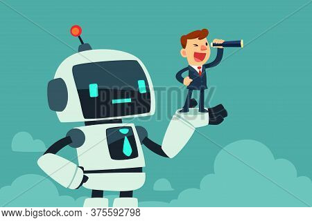 Successful Businessman With Spyglass Standing In A Hand Of Giant Robot With Artificial Intelligence.