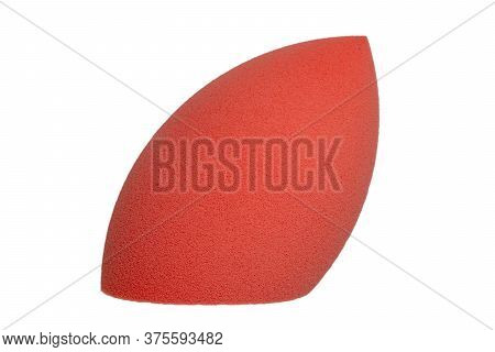 Sponge Isolated. Close-up Of A Pink Cosmetic Sponge Isolated On A White Background. Beauty Concept.