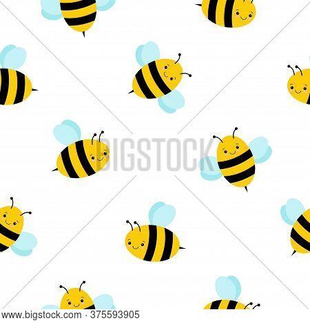 Cute Kawaii Buzz Bee Seamless Pattern Background Vector