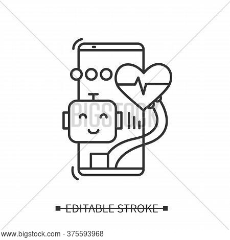 Ai In Healthcare Icon. Smartphone, Robot And Heart Rhythm. Line Illustration Pictogram Of Distant Me