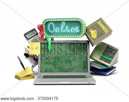 Online Business Training Concept Emty Screen Laptop With Books And Calculator 3d Render On White Bac