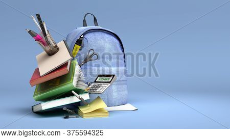 Online Learning Concept Blue Backpack With School Supplies 3d Render On Blue Gradient