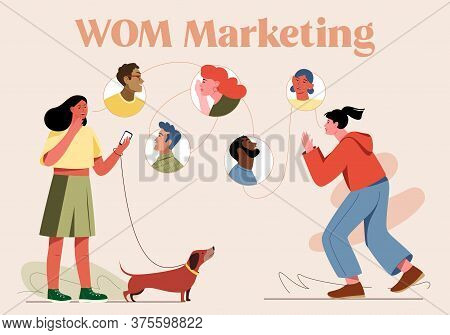 Vector Illustration Of Word Of Mouth Marketing