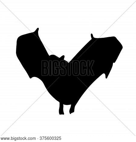 Black Bat Isolated On A White Background. Silhouette Of A Bat. Design Element For Halloween. Vector