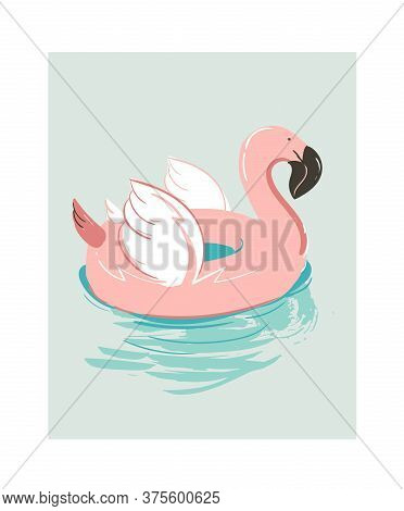 Hand Drawn Vector Abstract Cartoon Summer Time Fun Illustration With Pink Flamingo Buoy Float Circle