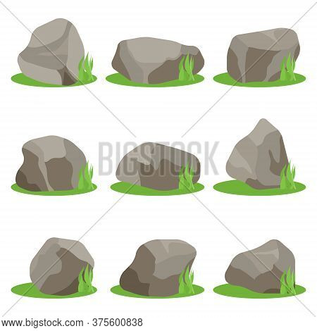 Stones, Set Of Stones With Green Grass Isolated On A White Background. Vector, Cartoon Illustration.