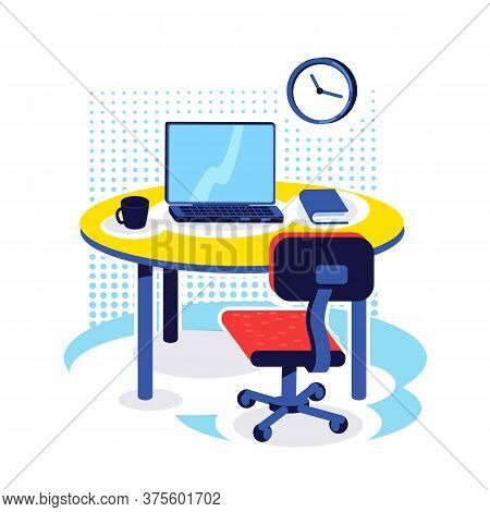 Office Workplace Flat Color Vector Object. Desk With Computer. Corporate Job. Pc Monitor On Table. H