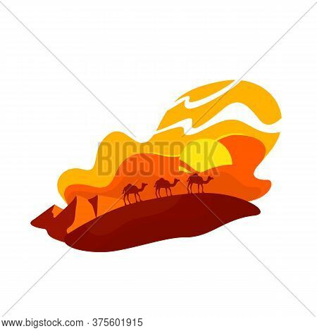 Camels Walk In Dunes 2d Vector Web Banner, Poster. Summer In Morocco. Sahara Wildlife. Egyptian Sand