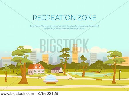 Recreation Zone Banner Flat Vector Template. Rest In City. Urban Park. Brochure, Booklet One Page Co